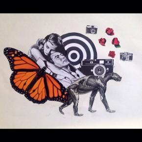 """Through Time,"" paper collage, Julie Mastrine"